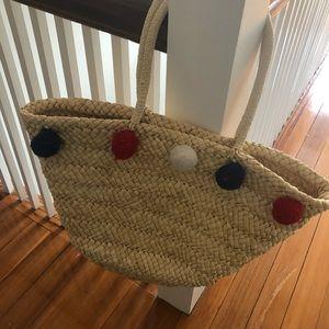 Handbags - Jute tote w pom poms